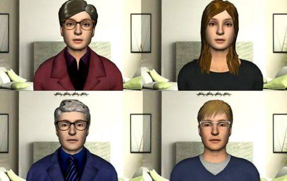 Voorbeelden van een virtuele coach die mensen met PTSS moet helpen bij hun behandeling.